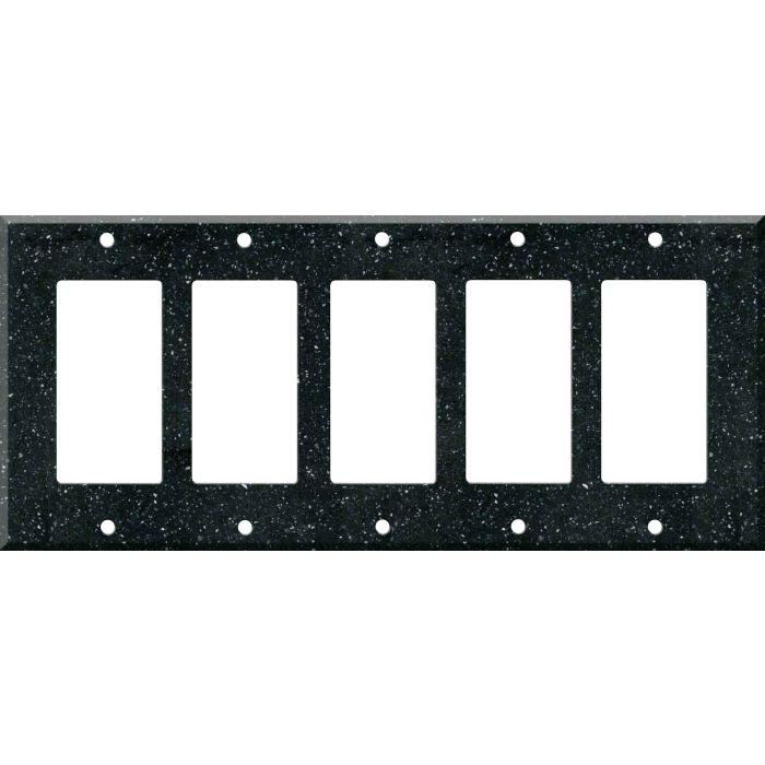 Corian Deep Black Quartz 5 GFCI Rocker Decora Switch Covers