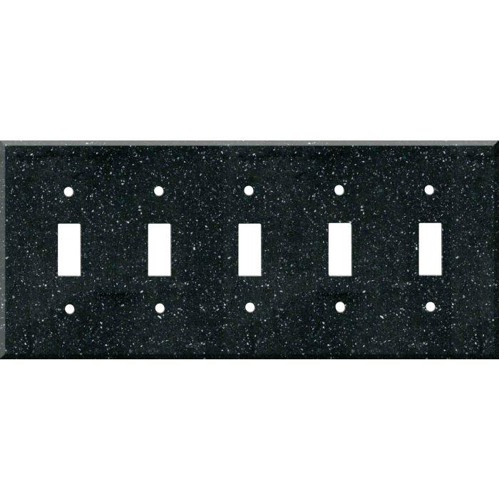 Corian Deep Black Quartz 5 Toggle Wall Switch Plates