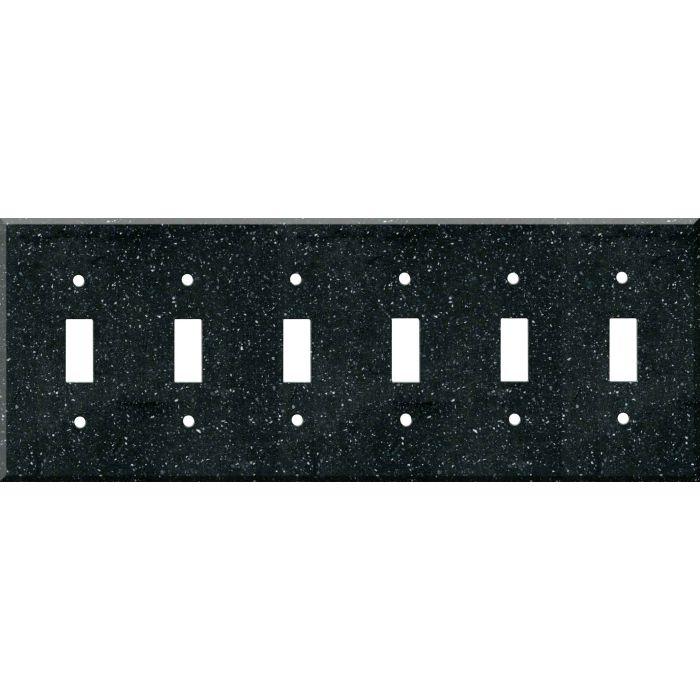 Corian Deep Black Quartz 6 Toggle Wall Plate Covers