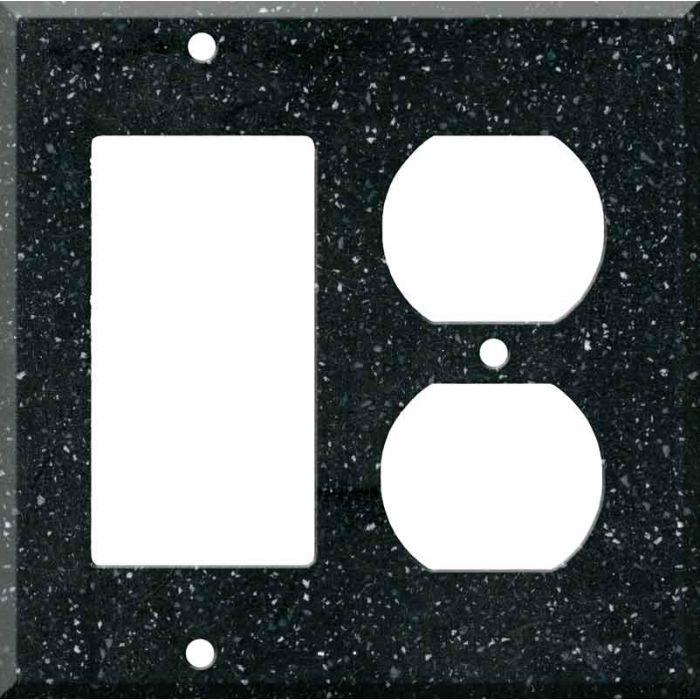 Corian Deep Black Quartz Combination GFCI Rocker / Duplex Outlet Wall Plates