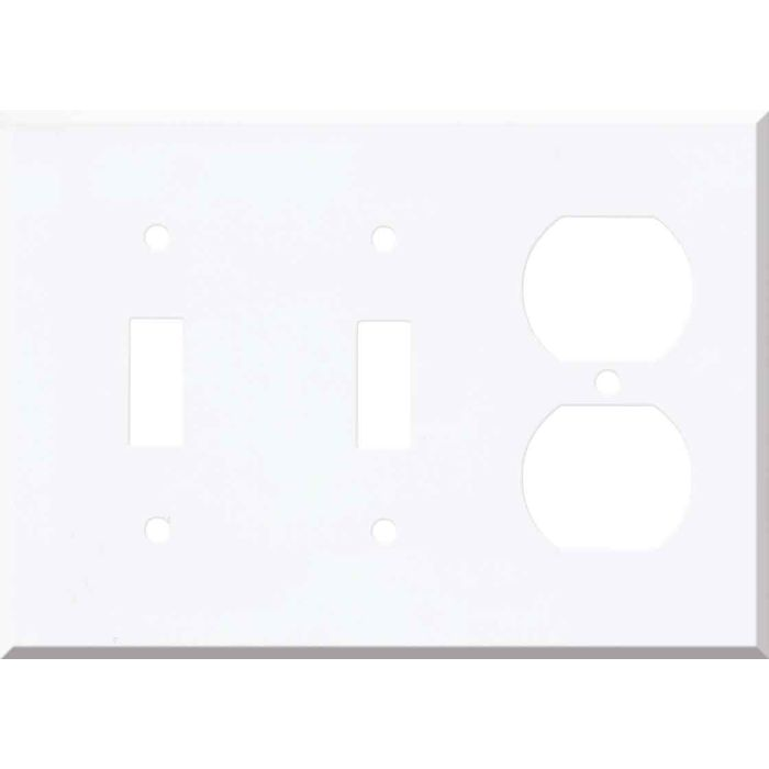 Corian Designer White Double 2 Toggle / Outlet Combination Wall Plates