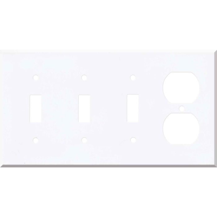 Corian Designer White Combination Triple 3 Toggle / Outlet Wall Plate Covers