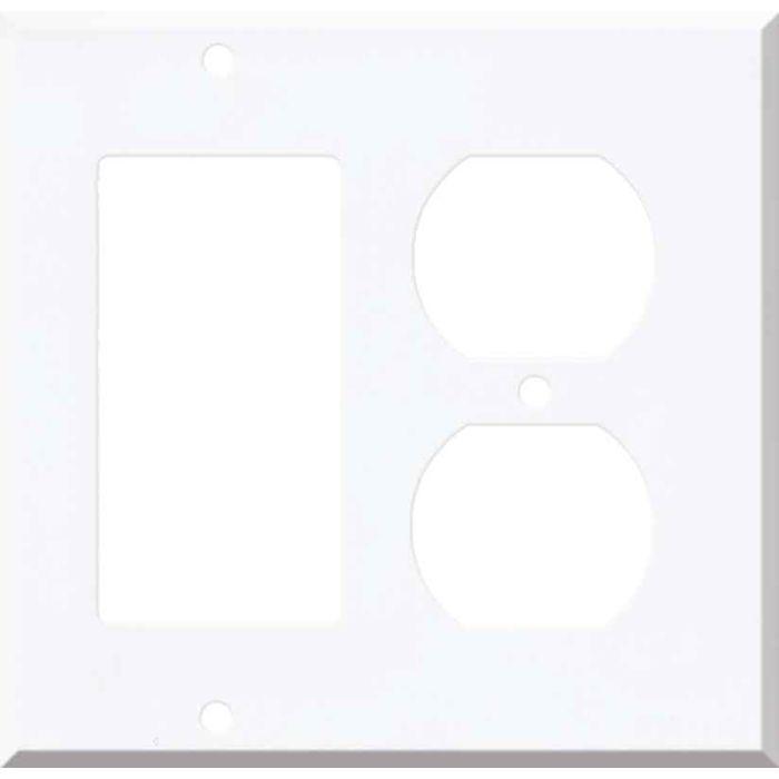 Corian Designer White Combination GFCI Rocker / Duplex Outlet Wall Plates