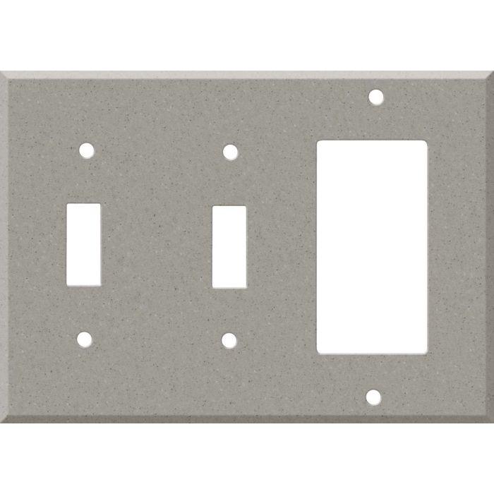 Corian Dove Double 2 Toggle / 1 GFCI Rocker Combo Switchplates