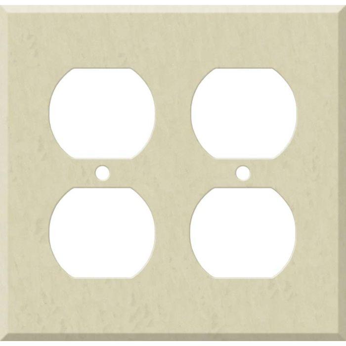 Corian Ecru 2 Gang Duplex Outlet Wall Plate Cover