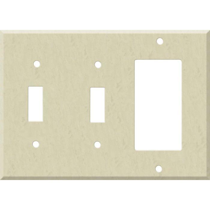Corian Ecru Double 2 Toggle / 1 GFCI Rocker Combo Switchplates