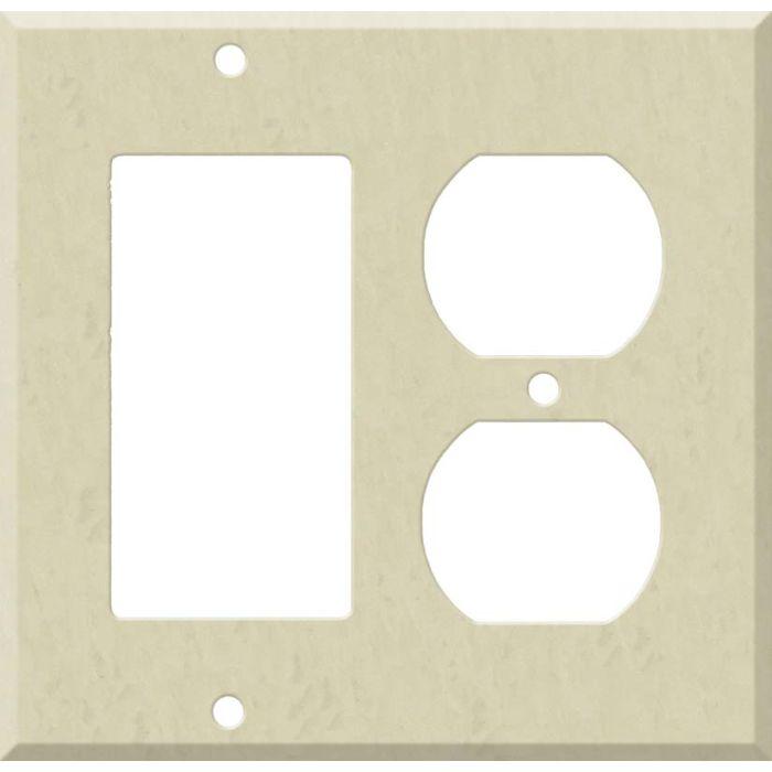 Corian Ecru Combination GFCI Rocker / Duplex Outlet Wall Plates