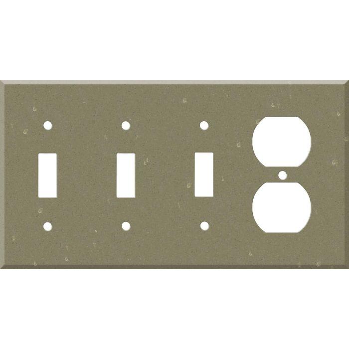 Corian Fawn 3-Toggle / 1-Duplex - Combination Wall Plates