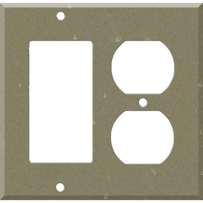 Corian Fawn Decora GFCI Rocker / Duplex Outlet Combination Wall Plate