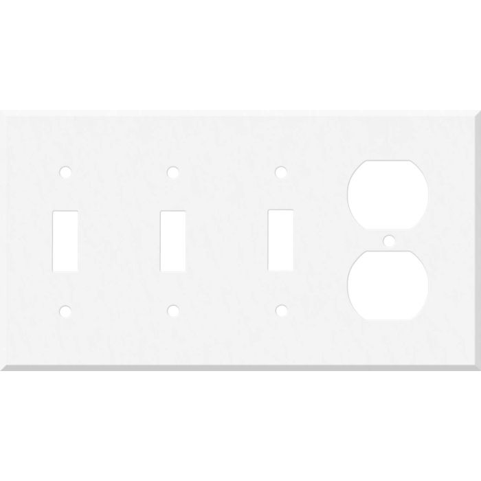 Corian Glacier White Combination Triple 3 Toggle / Outlet Wall Plate Covers