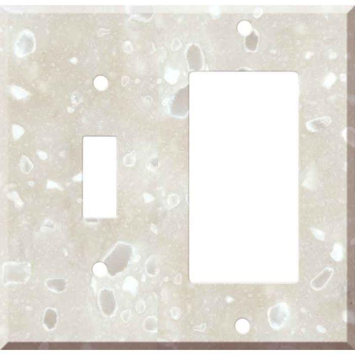 Corian Hazelnut 1 Toggle Wall Switch Plate - GFI Rocker Cover Combo