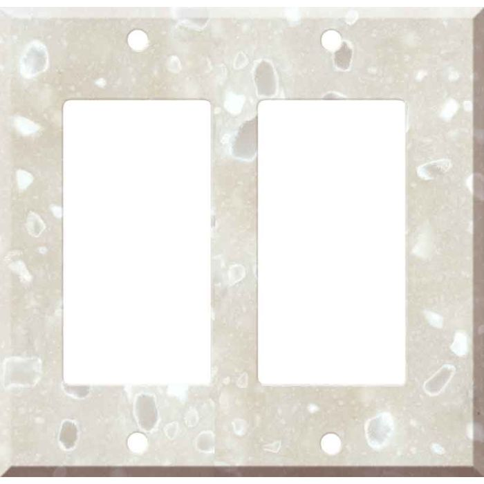 Corian Hazelnut 2 Gang Double GFCI Rocker Decorator Wallplates