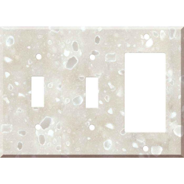 Corian Hazelnut 2-Toggle / 1-GFI Rocker - Combo Switch Covers