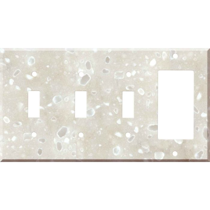 Corian Hazelnut 3-Toggle / 1-Decorator / Rocker - Combination Wall Plates