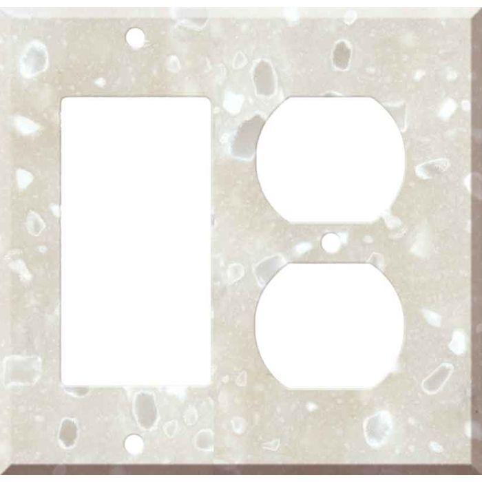 Corian Hazelnut Decora GFCI Rocker / Duplex Outlet Combination Wall Plate