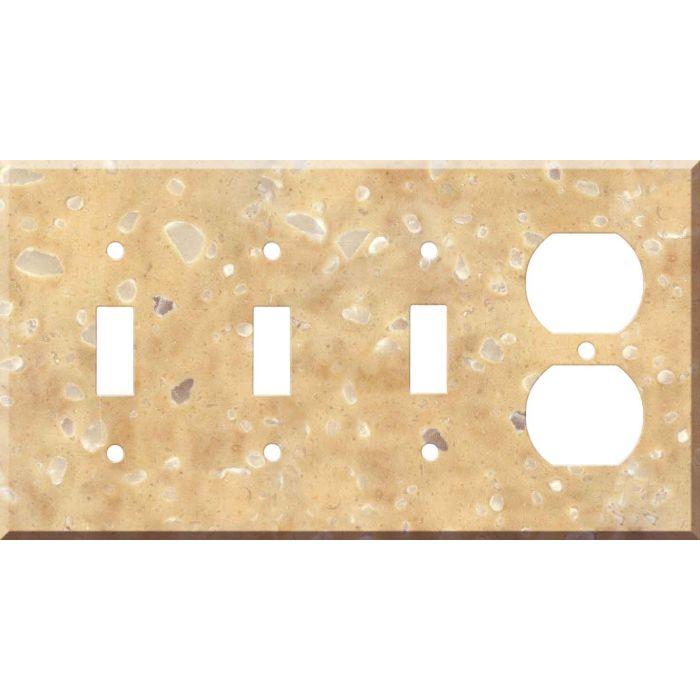 Corian Hickory Smoke 3-Toggle / 1-Duplex - Combination Wall Plates