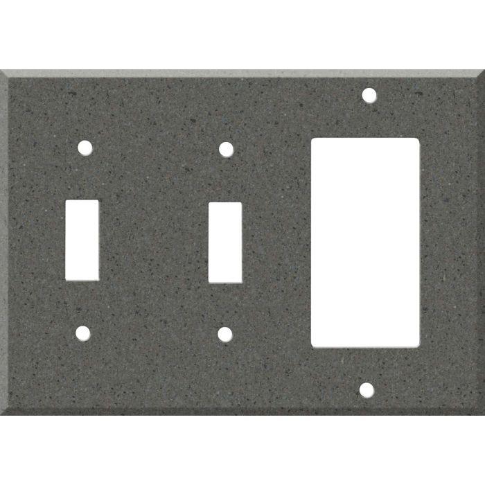 Corian Lava Rock Double 2 Toggle / 1 GFCI Rocker Combo Switchplates