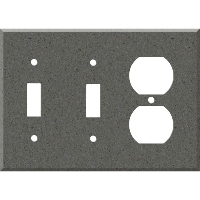 Corian Lava Rock Double 2 Toggle / Outlet Combination Wall Plates