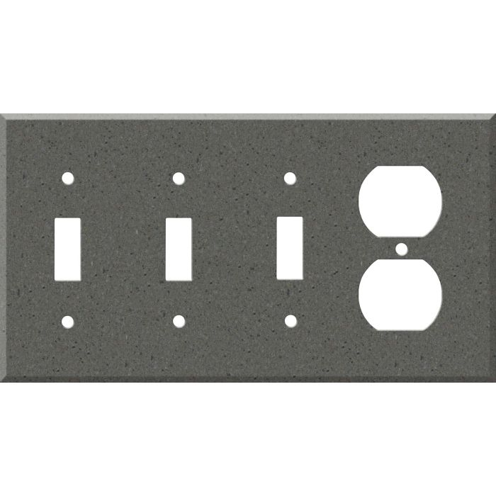 Corian Lava Rock Combination Triple 3 Toggle / Outlet Wall Plate Covers
