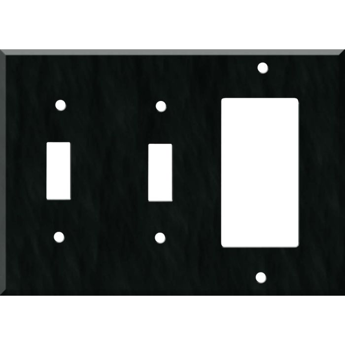 Corian Deep Nocturne Double 2 Toggle / 1 GFCI Rocker Combo Switchplates