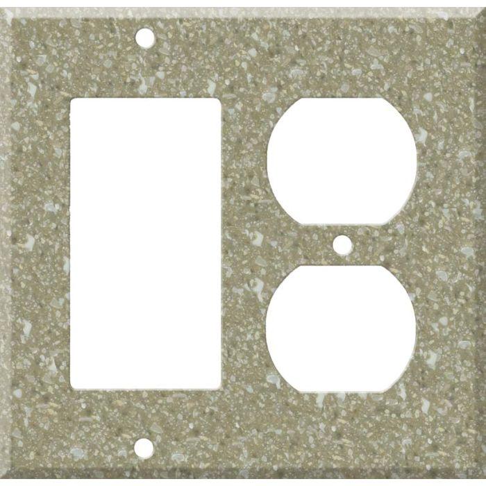 Corian Oat Decora GFCI Rocker / Duplex Outlet Combination Wall Plate