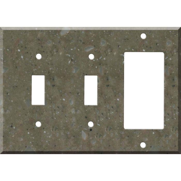 Corian Rosemary Double 2 Toggle / 1 GFCI Rocker Combo Switchplates
