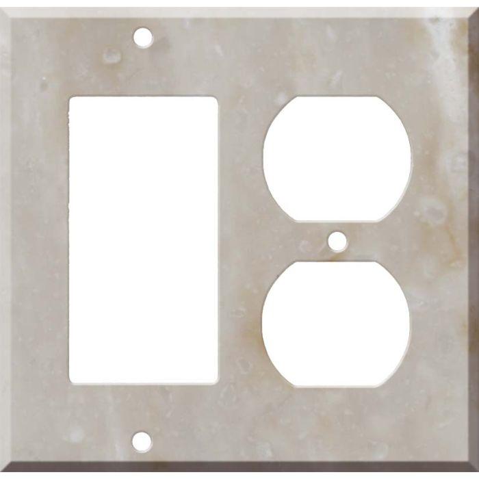 Corian Sandalwood Combination GFCI Rocker / Duplex Outlet Wall Plates