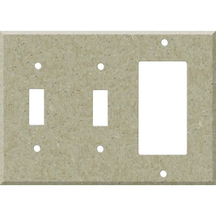 Corian Tumbleweed Double 2 Toggle / 1 GFCI Rocker Combo Switchplates