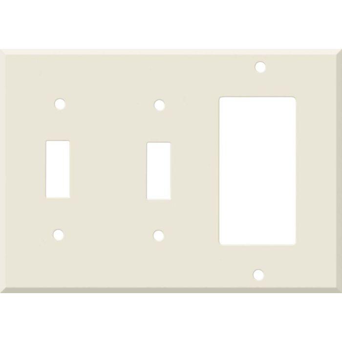 Corian Vanilla Double 2 Toggle / 1 GFCI Rocker Combo Switchplates