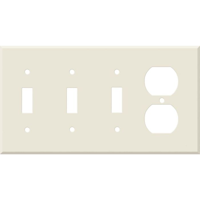 Corian Vanilla Combination Triple 3 Toggle / Outlet Wall Plate Covers