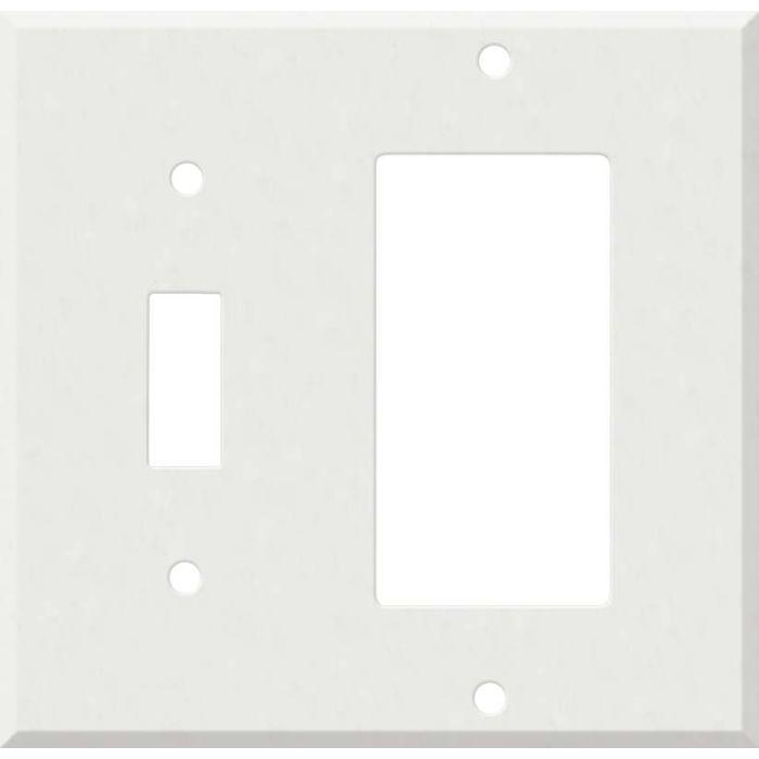Corian Venaro White 1 Toggle Wall Switch Plate - GFI Rocker Cover Combo