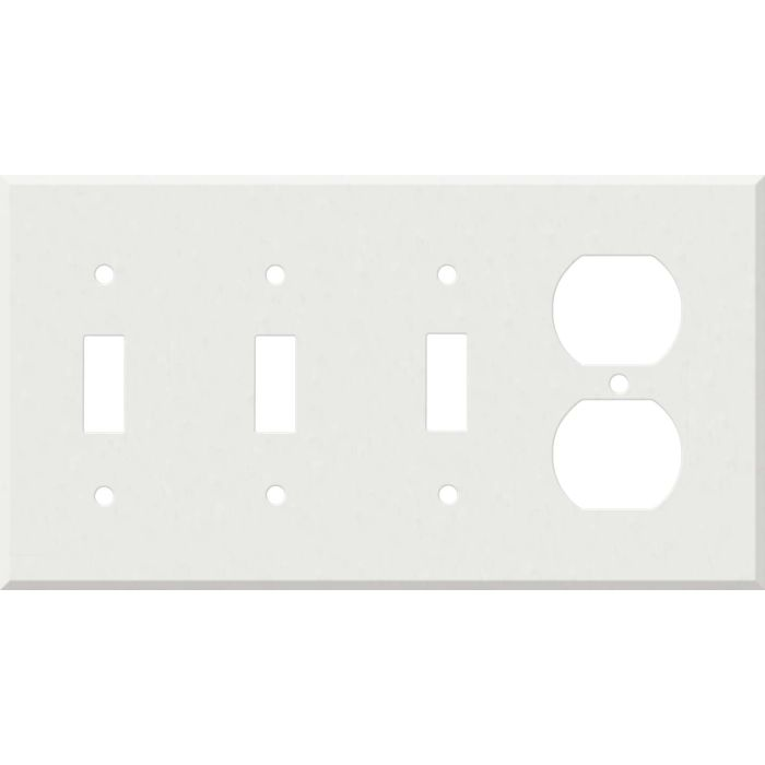 Corian Venaro White Combination Triple 3 Toggle / Outlet Wall Plate Covers