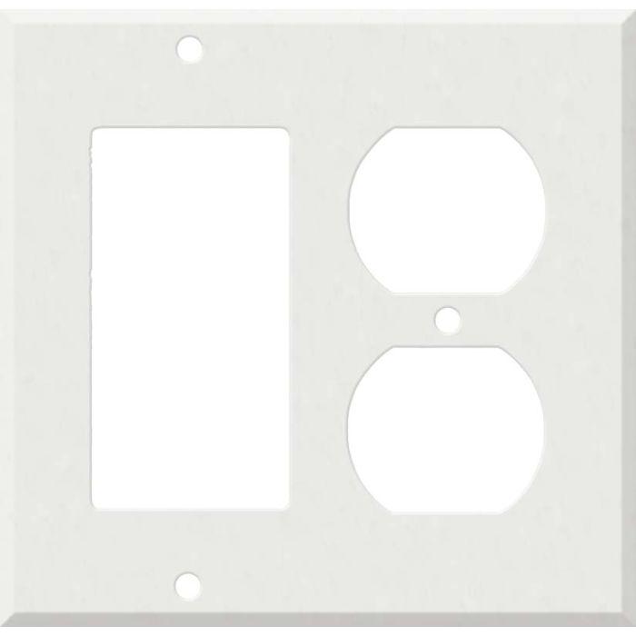 Corian Venaro White Decora GFCI Rocker / Duplex Outlet Combination Wall Plate