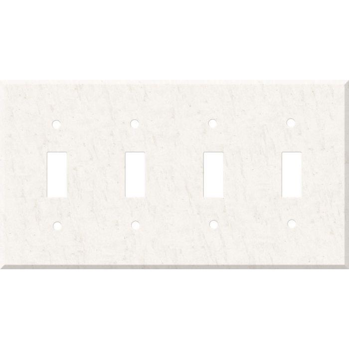 Corian White Jasmine Quad 4 Toggle Light Switch Covers