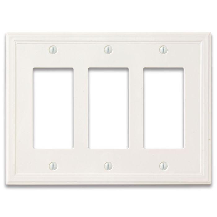 Cornice Insulated White Satin Triple 3 Rocker GFCI Decora Light Switch Covers