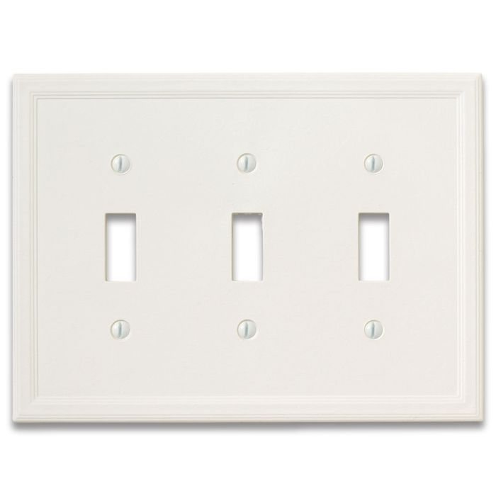 Cornice Insulated White Satin Triple 3 Toggle Light Switch Covers