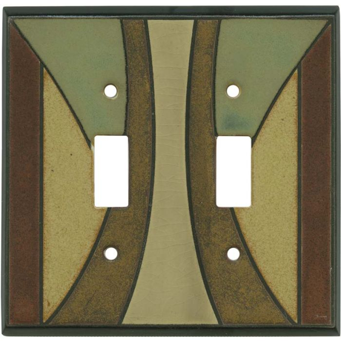 Craftsman Ceramic Double 2 Toggle Switch Plate Covers