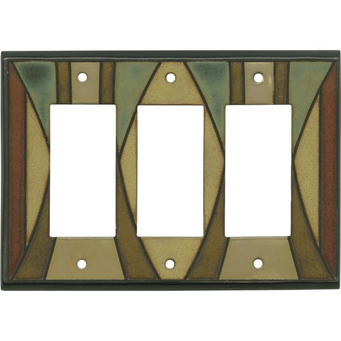 Craftsman Ceramic Triple 3 Rocker GFCI Decora Light Switch Covers