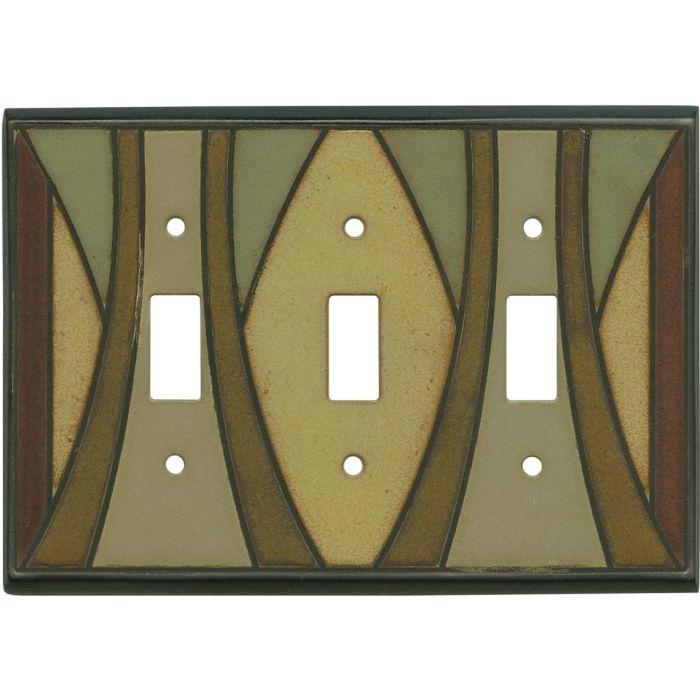 Craftsman Ceramic Triple 3 Toggle Light Switch Covers