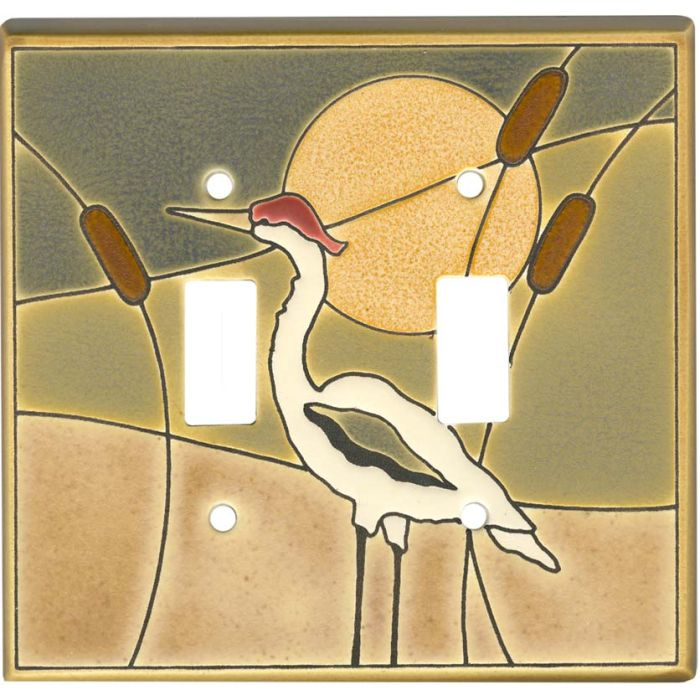 Crane Ceramic Double 2 Toggle Switch Plate Covers