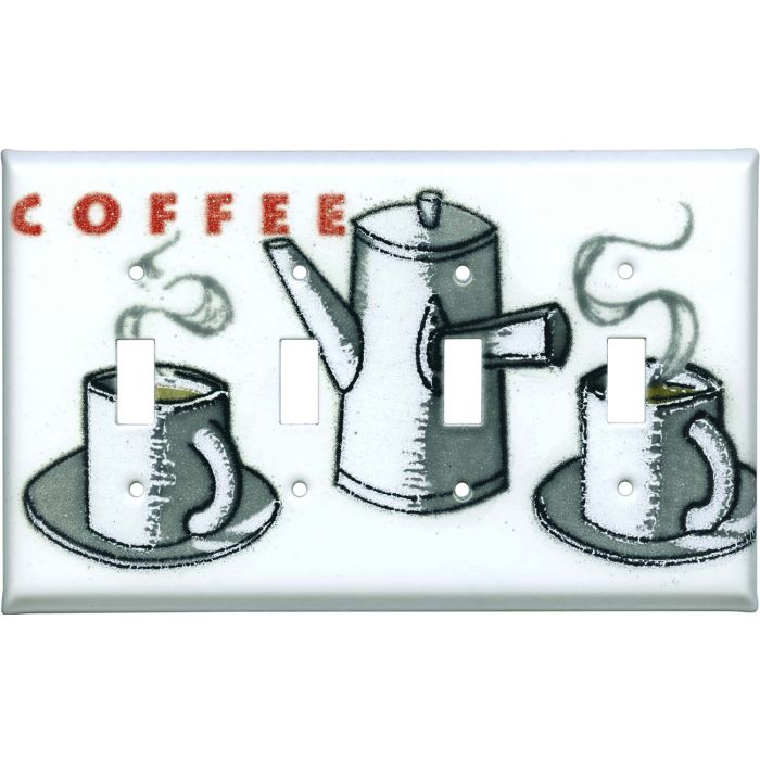 Cuppa Coffee Quad 4 Toggle Light Switch Covers