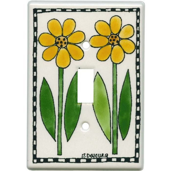 Daises in a Row Single 1 Toggle Light Switch Plates