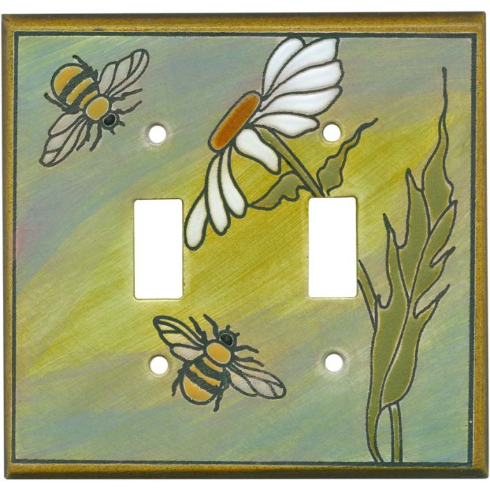Daisy Bee Ceramic Double 2 Toggle Switch Plate Covers