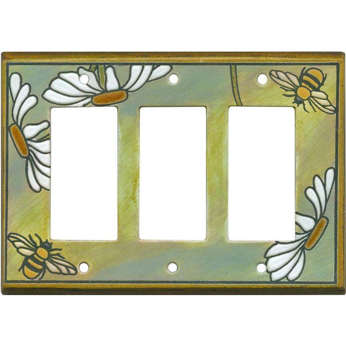 Daisy Bee Ceramic Triple 3 Rocker GFCI Decora Light Switch Covers