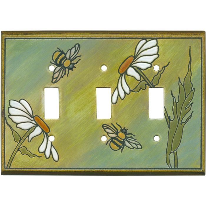 Daisy Bee Ceramic Triple 3 Toggle Light Switch Covers
