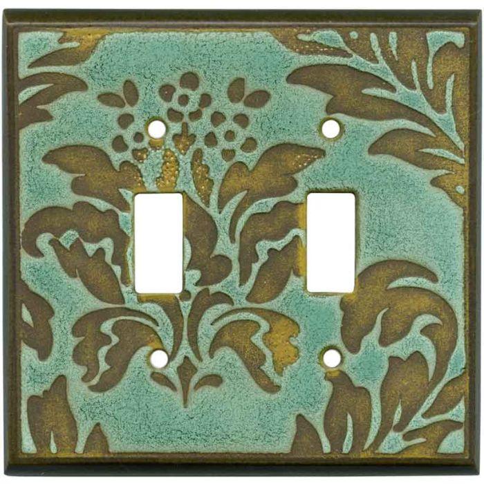 Damask Turquoise Ceramic2 Toggle Switch Plates