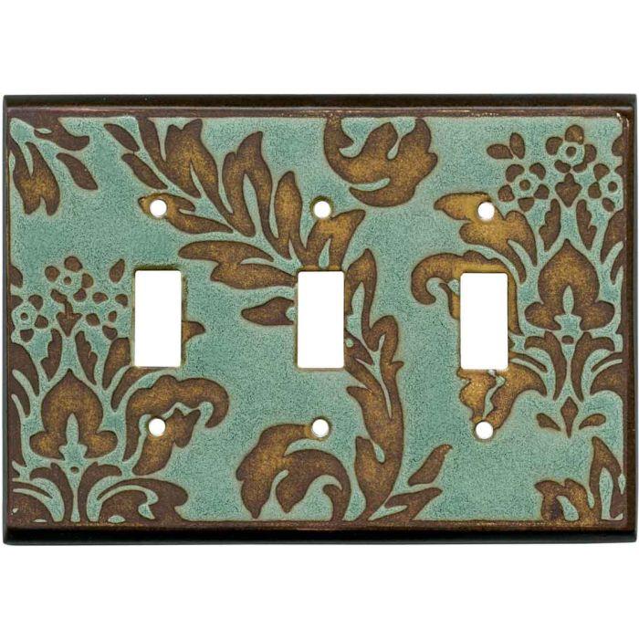 Damask Turquoise Ceramic3 - Toggle Switch Plates
