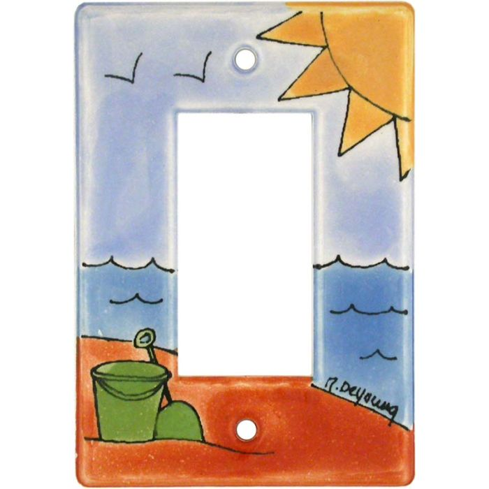 Day at the Beach Single 1 Gang GFCI Rocker Decora Switch Plate Cover