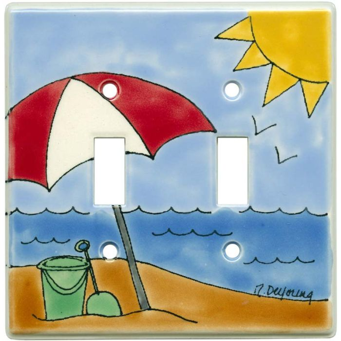 Day at the Beach Double 2 Toggle Switch Plate Covers
