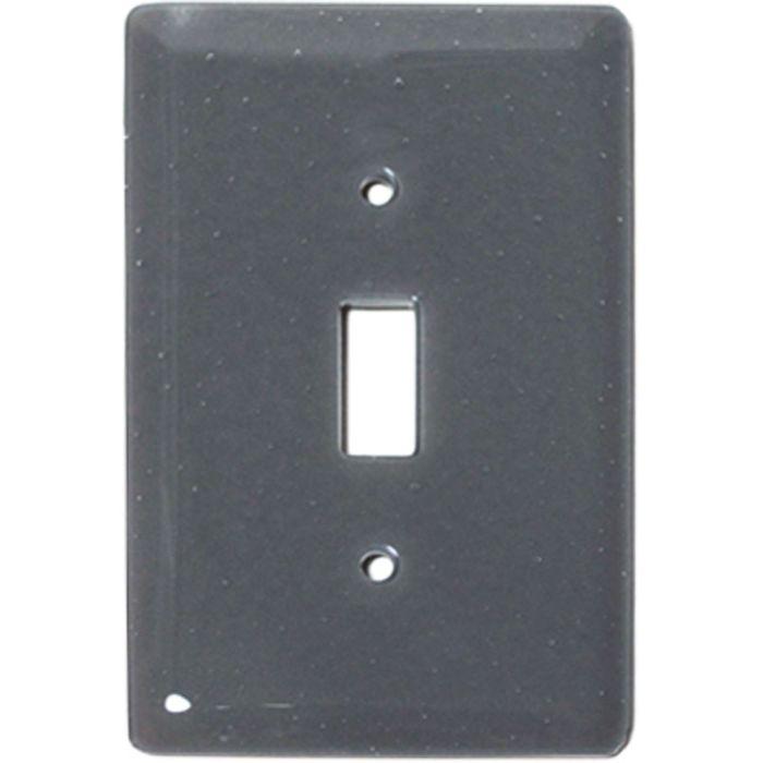 Deco Gray Glass Single 1 Toggle Light Switch Plates